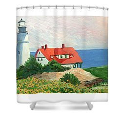 Portland Headlight With Brown Eyed Susans Shower Curtain