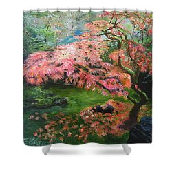 Portland Japanese Maple Shower Curtain by LaVonne Hand