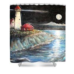 Portland Maine Twilight Shower Curtain by Bernadette Krupa