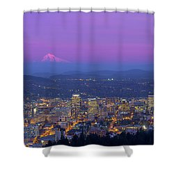 Portland Oregon Cityscape At Dusk Shower Curtain