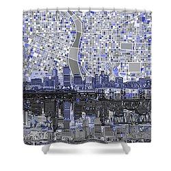 Portland Skyline Abstract Nb Shower Curtain by Bekim Art
