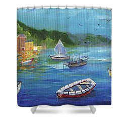 Shower Curtain featuring the painting Portofino, Italy by Jamie Frier
