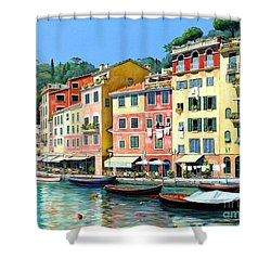 Shower Curtain featuring the painting Portofino Sunshine 30 X 40 by Michael Swanson