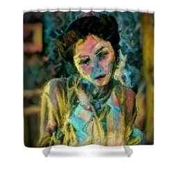 Portrait Colorful Female Wistfully Thoughtful Pastel Shower Curtain by MendyZ