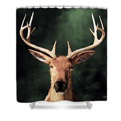 Shower Curtain featuring the digital art Portrait Of A Buck by Daniel Eskridge