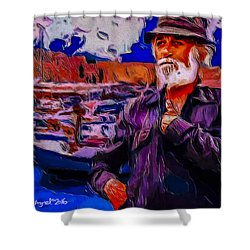 Shower Curtain featuring the painting Portrait Of A Fisherman by Ted Azriel