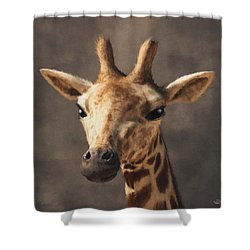 Shower Curtain featuring the digital art Portrait Of A Giraffe  by Daniel Eskridge