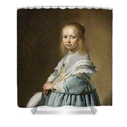 Portrait Of A Girl Dressed In Blue By J. Cornelisz Shower Curtain