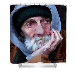 Portrait Of A Homeless Man Shower Curtain