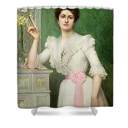 Portrait Of A Lady Holding A Fan Shower Curtain by Jules-Charles Aviat