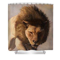 Shower Curtain featuring the digital art Portrait Of A Lion by Daniel Eskridge