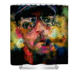 Portrait Of A Man In Sunglass Smoking A Cigar In The Sunshine Wearing A Hat And Riding A Motorcycle In Pink Green Yellow Black Blue Oil Paint With Raking Light To Pick Up Paint Texture Shower Curtain by MendyZ