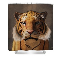 Shower Curtain featuring the digital art Portrait Of A Tiger by Daniel Eskridge