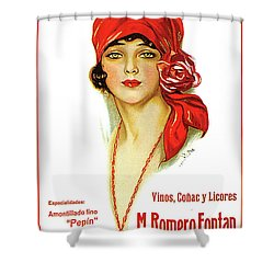Portrait Of A Young Woman With Red Bandana Vintage Advertising Poster Shower Curtain