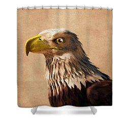 Shower Curtain featuring the digital art Portrait Of An Eagle by Daniel Eskridge