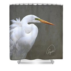 Portrait Of An Egret Signed Shower Curtain
