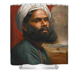 Shower Curtain featuring the painting Portrait Of An Indian Sardar by Edwin Frederick Holt