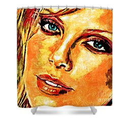 Portrait Of Charlize Theron Shower Curtain