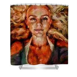Portrait Of Female With Hair Billowing Everywhere In Radiant Unsmiling Sharp Features Golden Warm Colors And Upturned Nose Curls And Aliens Of The Departure Shower Curtain by MendyZ