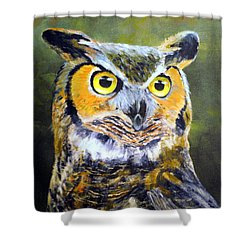 Portrait Of Great Horned Owl Shower Curtain by Dennis Clark