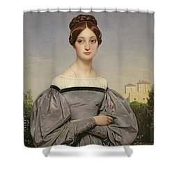 Portrait Of Louise Vernet Shower Curtain by Emile Jean Horace Vernet
