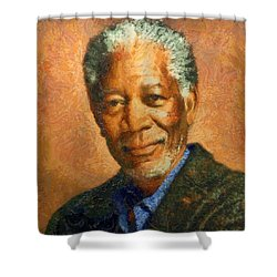Portrait Of Morgan Freeman Shower Curtain