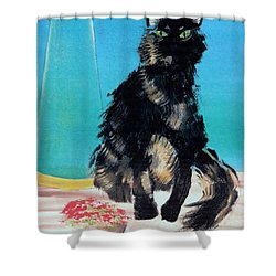 Shower Curtain featuring the painting Portrait Of Muffin by Denise Fulmer