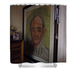 Portrait Of My Dad Shower Curtain by Val Oconnor