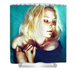 Portrait Of The Girl Who Is Painfully Shy Shower Curtain