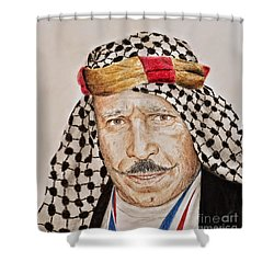 Portrait Of The Pro Wrestler Known As The Iron Sheik Shower Curtain