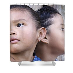 Shower Curtain featuring the photograph Portrait Of Two Panama Girls by Heiko Koehrer-Wagner