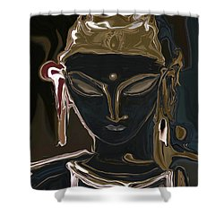 Shower Curtain featuring the digital art Portrait Of Vajrasattva by Rabi Khan