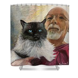 Shower Curtain featuring the painting Portrait Of Veda And Ron by Ron Richard Baviello