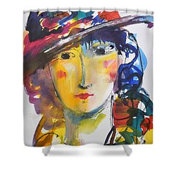 Portrait Of Woman With Flower Hat Shower Curtain by Amara Dacer
