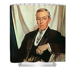 Portrait Of Woodrow Wilson Shower Curtain by Sir William Orpen
