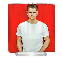 Portrait Of Young Handsome Man Shower Curtain