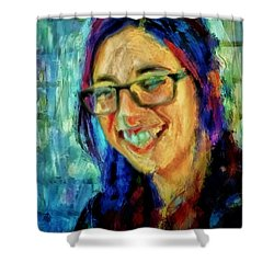 Portrait Painting In Acrylic Paint Of A Young Fresh Girl With Colorful Hair In A Library With Books  Shower Curtain by MendyZ