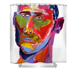 Shower Curtain featuring the painting Portrait Prez by Shungaboy X
