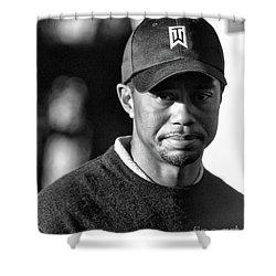 Portrait  Tiger Woods Black White  Shower Curtain