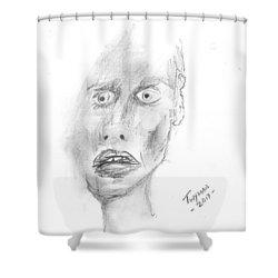 Portrait With Mechanical Pencil Shower Curtain