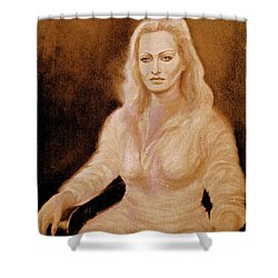 Portrait Woman In Bright Dress Shower Curtain