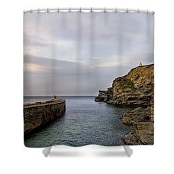 Shower Curtain featuring the photograph Portreath Harbour, Cornwall Uk by Shirley Mitchell