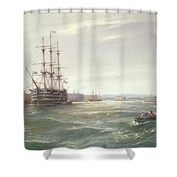 Portsmouth Harbour With Hms Victory Shower Curtain by Robert Ernest Roe