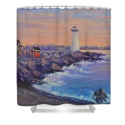 Portsmouth Lighthouse Sunset Peaceful  Coastal Painting Shower Curtain