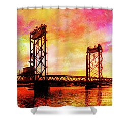 Portsmouth Memorial Bridge Abstract At Sunset Shower Curtain