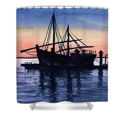 Shower Curtain featuring the painting Portuguese Fishing Boat by Dora Hathazi Mendes