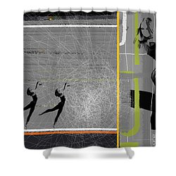 Pose And Jump Shower Curtain by Naxart Studio