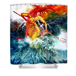 Shower Curtain featuring the painting Poseidon by Henryk Gorecki