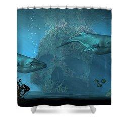 Shower Curtain featuring the digital art Poseidon's Grave by Daniel Eskridge