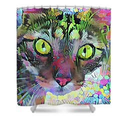 Posie The Tabby Cat Shower Curtain